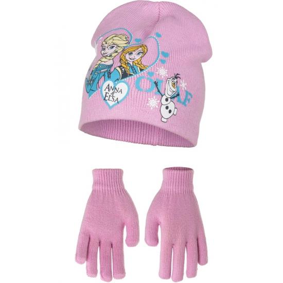 Muts en handschoenen Frozen roze