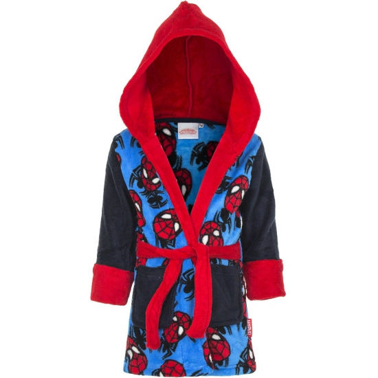 Spiderman badjas jongens zwart/blauw