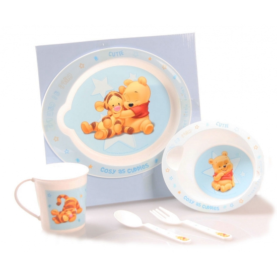 Winnie de Pooh kadoset servies blauw