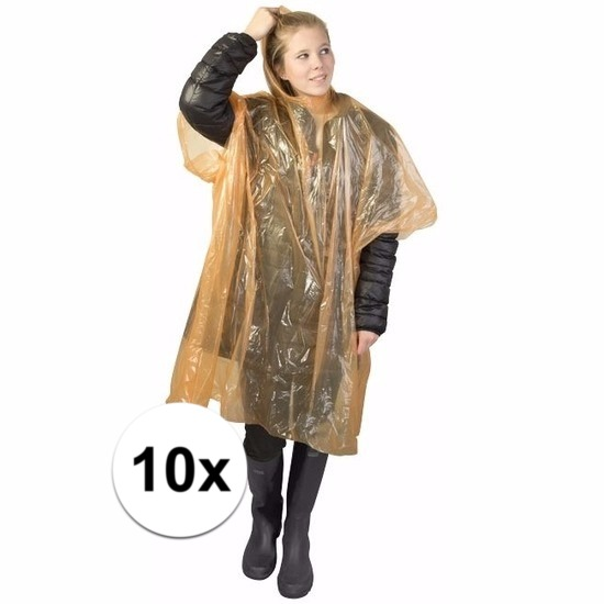 10x oranje wegwerp regencapes