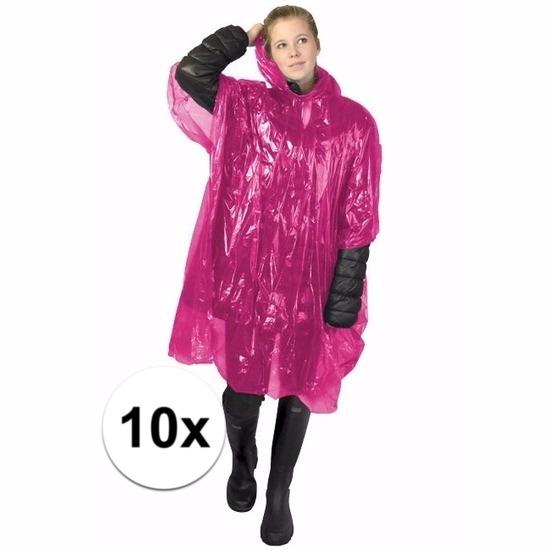 10x roze wegwerp regencapes
