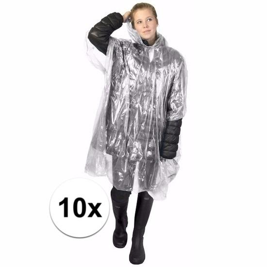 10x transparante wegwerp regencapes