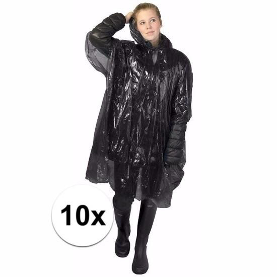 10x zwarte wegwerp regencapes