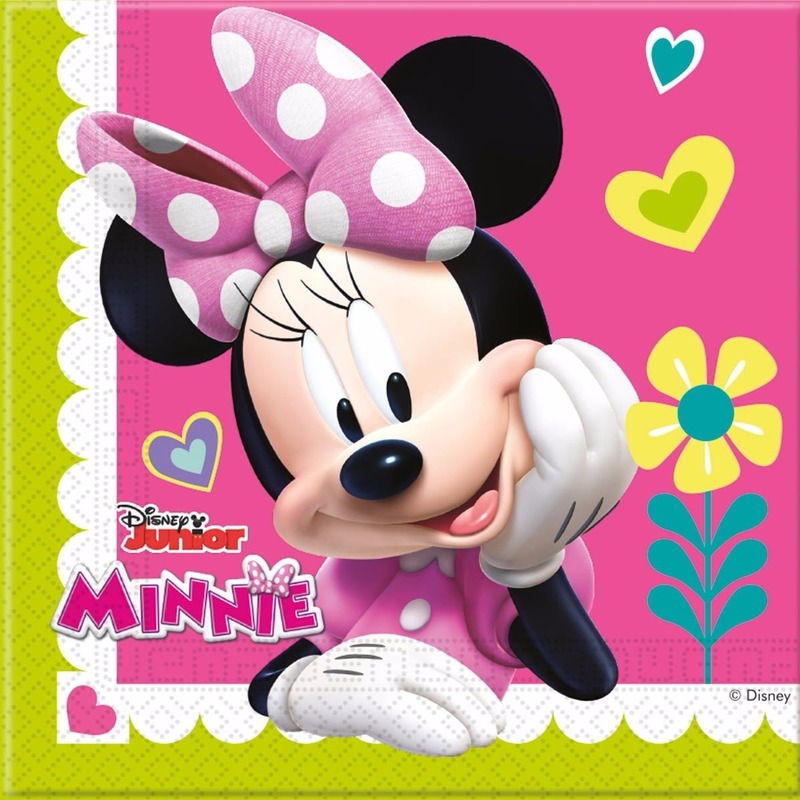 20x Minnie Mouse themafeest servetten 33 x 33 cm papier