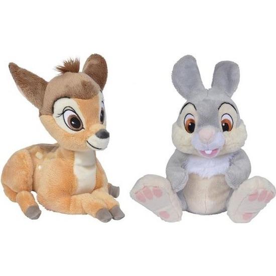 2x Disney Bambi en Stampertje knuffels 18 cm speelgoed set