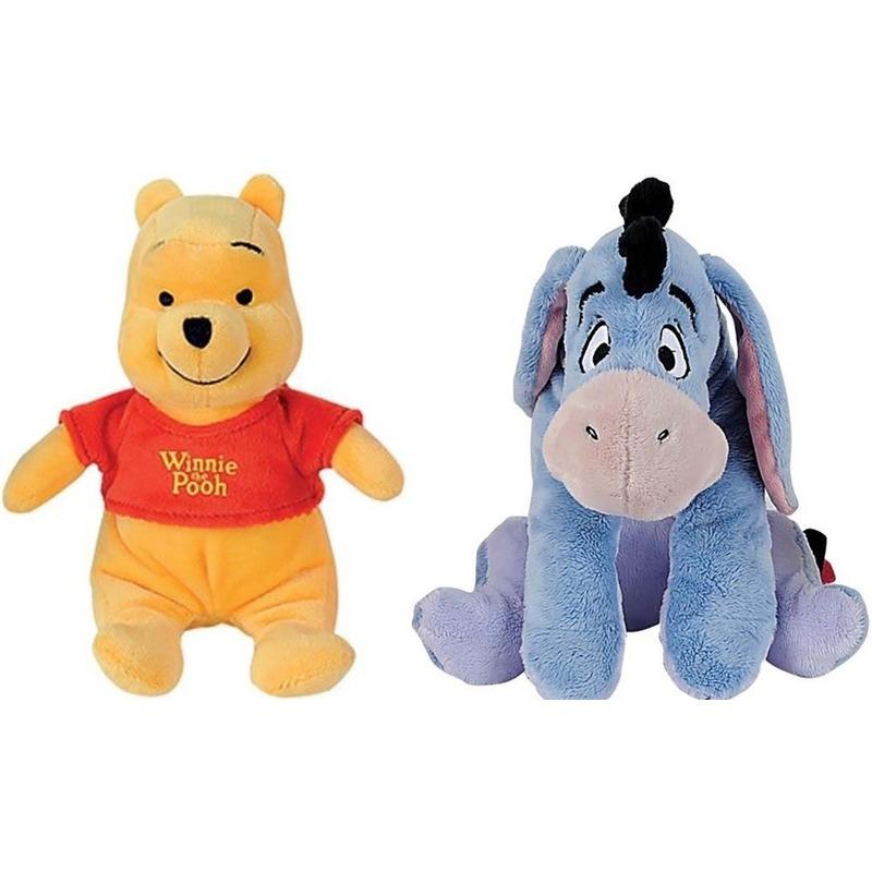 2x Disney Winnie en Iejoor knuffels 19 cm speelgoed set