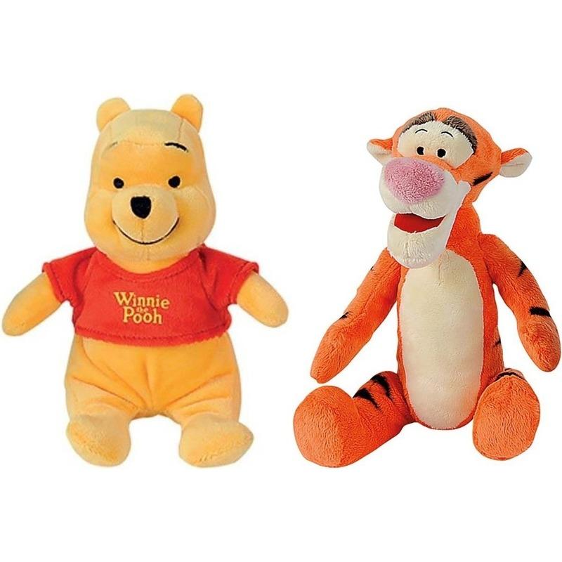 2x Disney Winnie en Teigetje knuffels 19 cm speelgoed set
