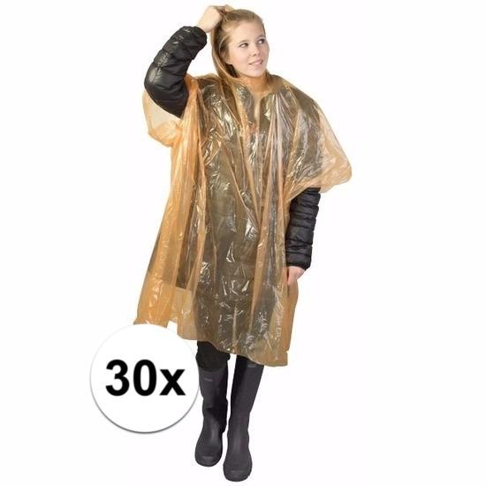 30x oranje wegwerp regencapes