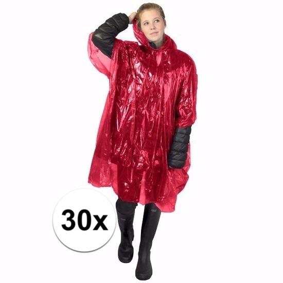 30x rode wegwerp regencapes