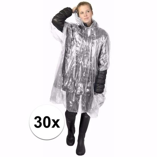 30x transparante wegwerp regencapes