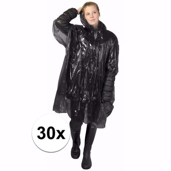 30x zwarte wegwerp regencapes