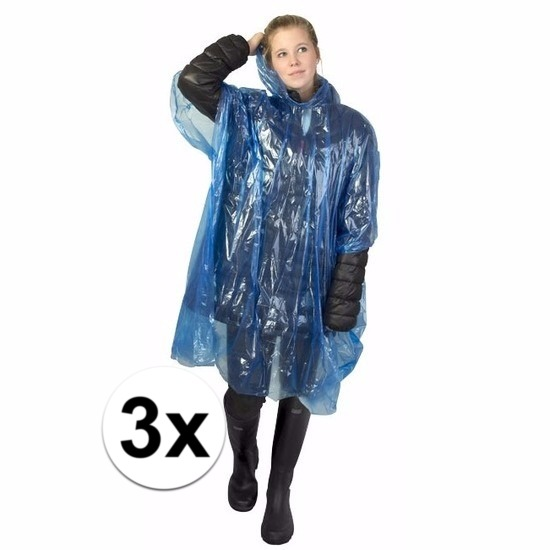 3x blauwe wegwerp regencapes