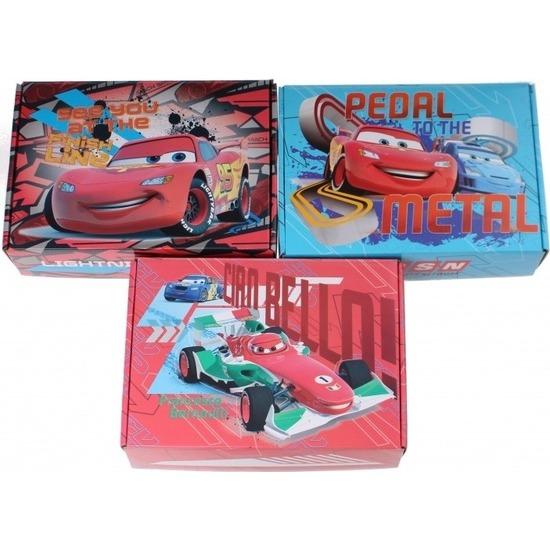 3x Disney Cars opbergboxen/opbergdozen van karton