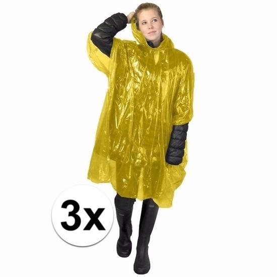 3x gele wegwerp regencapes