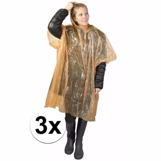 3x oranje wegwerp regencapes