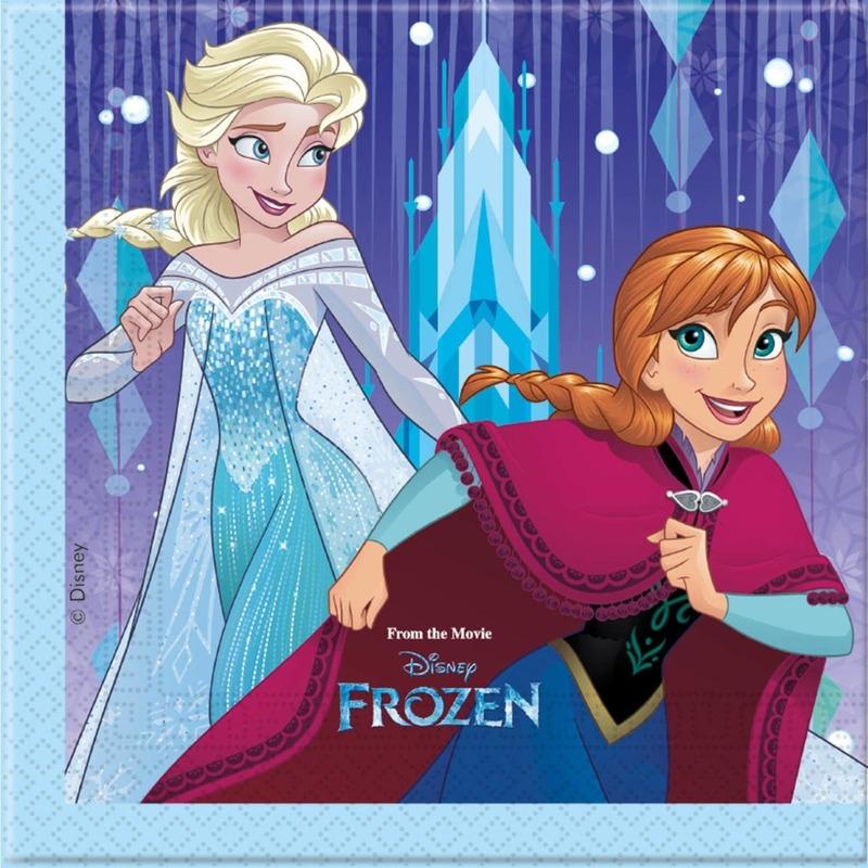 40x Frozen blauw/paars themafeest servetten 33 x 33 cm