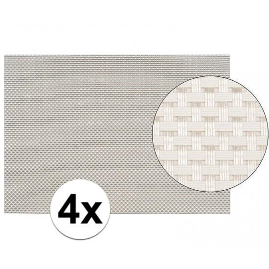 4x Placemats met geweven print wit 45 x 30 cm
