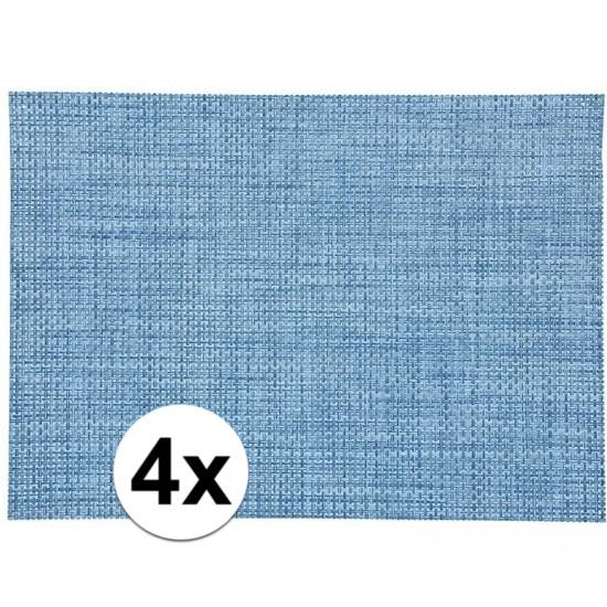 4x Vlechtwerk placemat blauw 45 x 30 cm