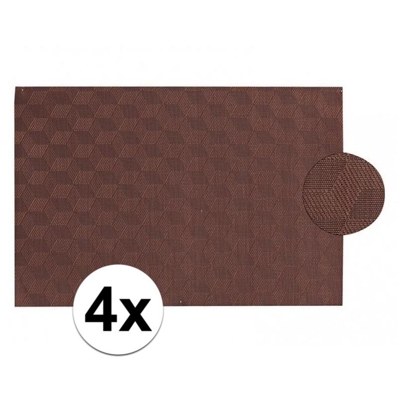 4x Vlechtwerk placemat donkerbruin 45 x 30 cm