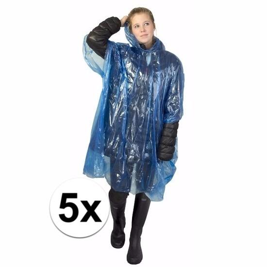 5x blauwe wegwerp regencapes