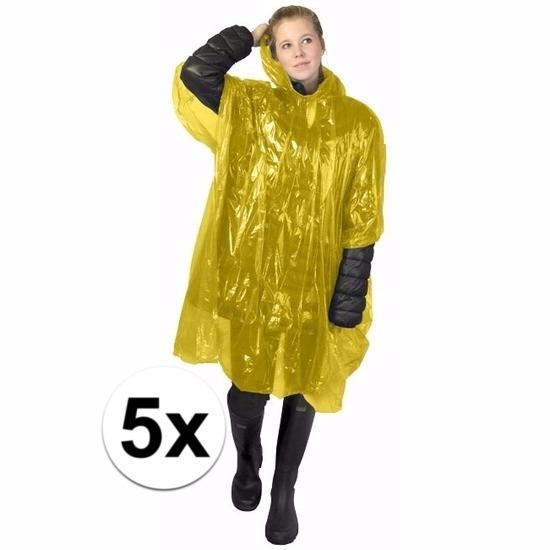 5x gele wegwerp regencapes