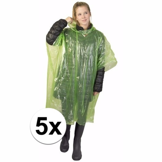 5x groene wegwerp regencapes