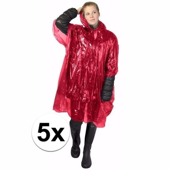 5x rode wegwerp regencapes