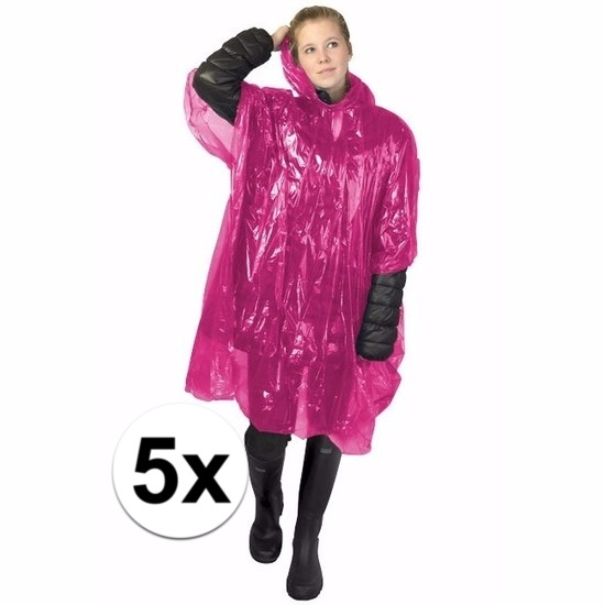 5x roze wegwerp regencapes