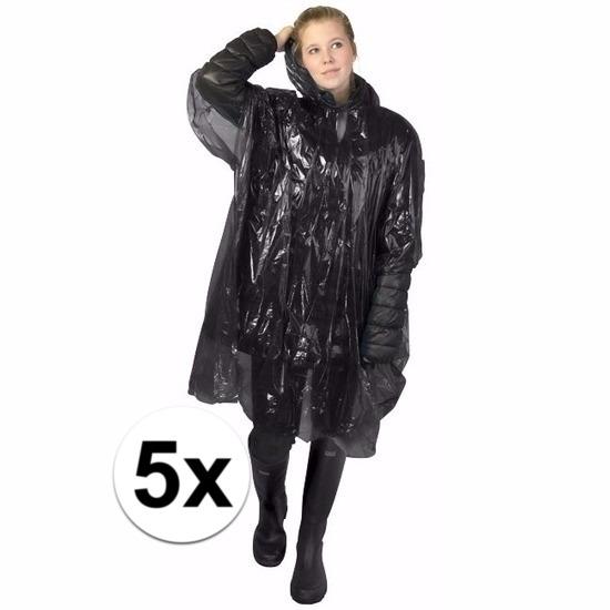 5x zwarte wegwerp regencapes