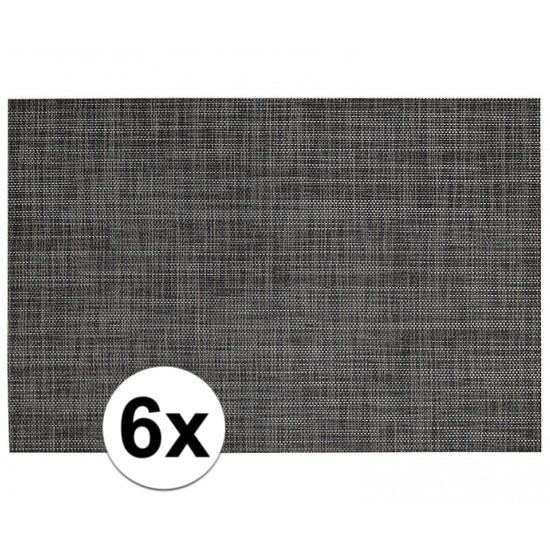 6x Placemats met geweven print antraciet 45 x 30 cm