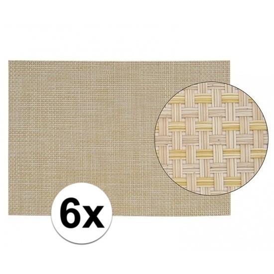 6x Placemats met geweven print beige 45 x 30 cm