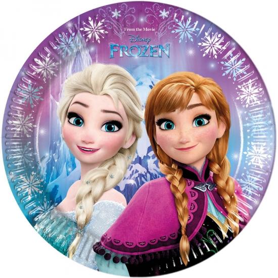 8x Disney Frozen themafeest bordjes 23 cm
