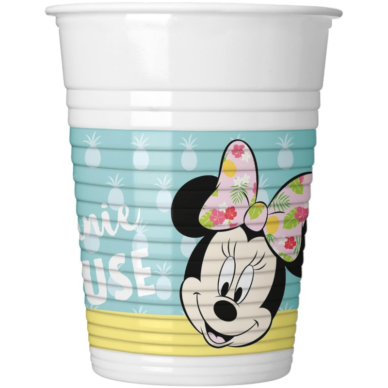 8x Disney Minnie Mouse tropical themafeest bekers 200 ml