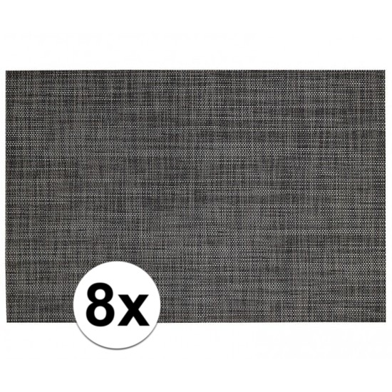 8x Placemats met geweven print antraciet 45 x 30 cm