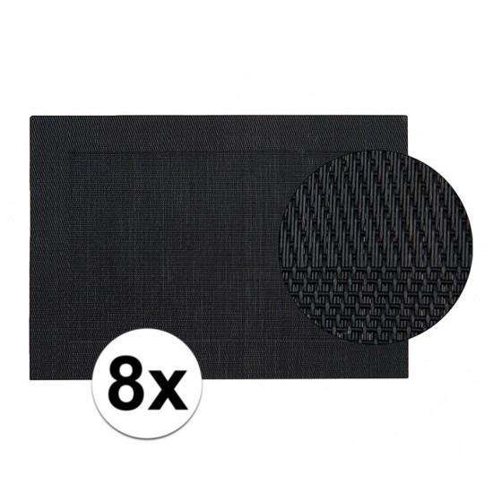 8x Vlechtwerk placemat zwart 45 x 30 cm