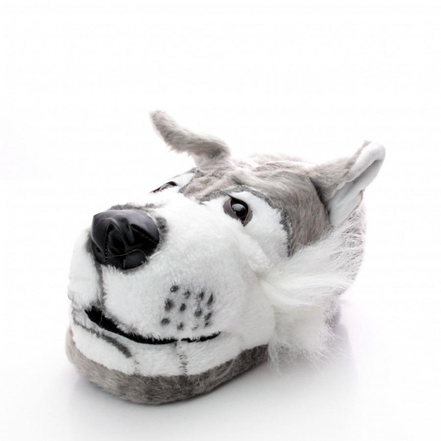 Dieren pantoffels/sloffen grijze wolf voor kinderen maat 34-36