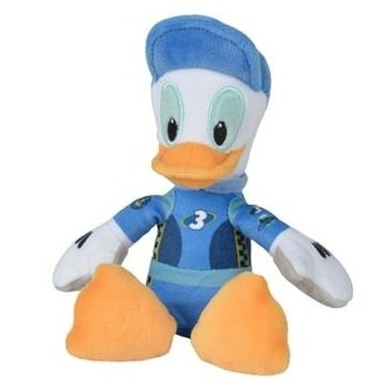 Disney pluche Donald Duck auto race knuffel 21 cm