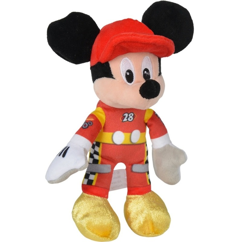 Disney pluche Mickey Mouse auto race knuffel 21 cm