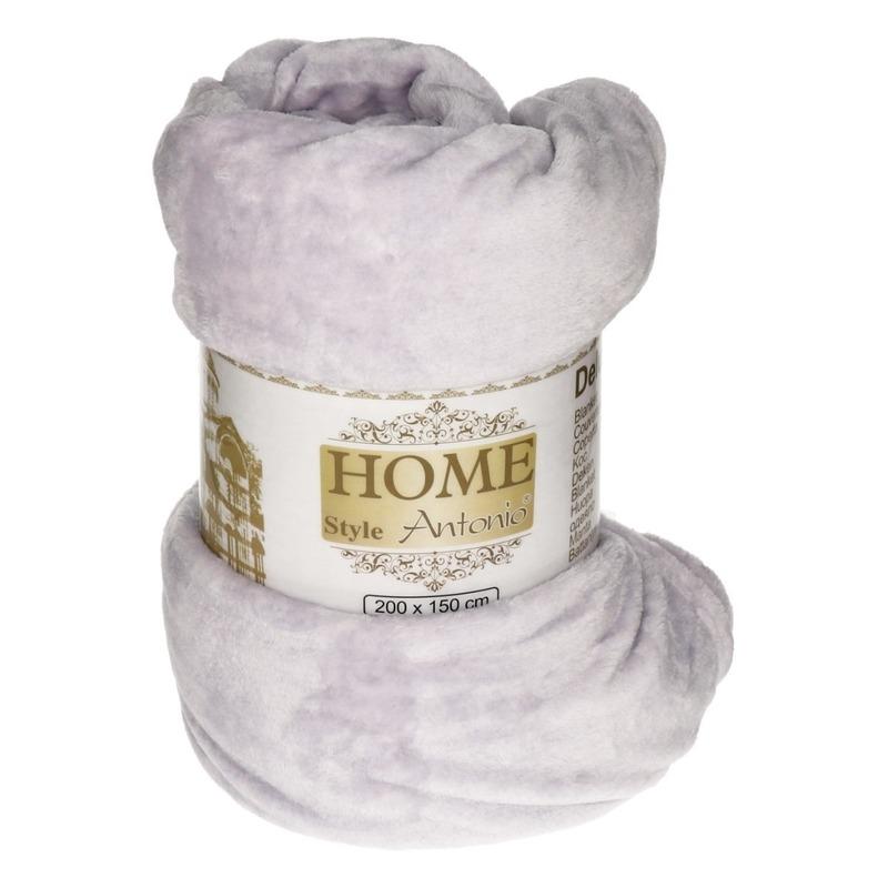 Flanellen deken/plaid lavendel 150 x 200 cm