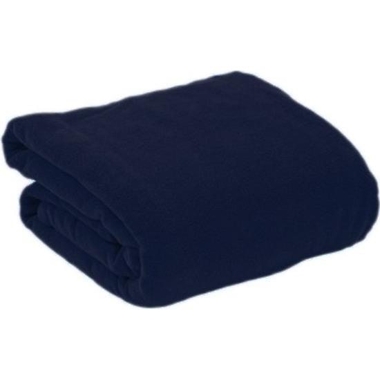 Fleece deken-plaid navy blauw met mouwen 130 x 180 cm