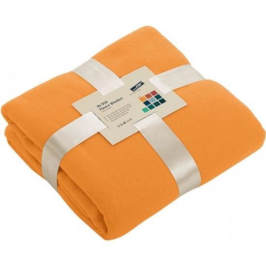 Fleece deken/plaid oranje 130 x 170 cm