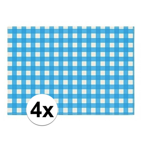 Oktoberfest - 4x Placemats blauw/wit geblokt 43 x 30 cm