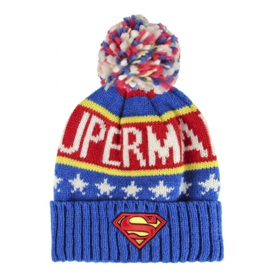 Superman warme mutsen met pompom